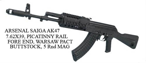 ARSENAL-SAIGA-AK47-7-62-39-PICATINNY-RAIL-FORE-END-WARSAW-PACT-BUTTSTOCK-5-Rnd-MAG=