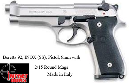 Beretta 92, INOX (SS), Pistol, 9mm, 2/15 Rd Mags, Made In Italy=