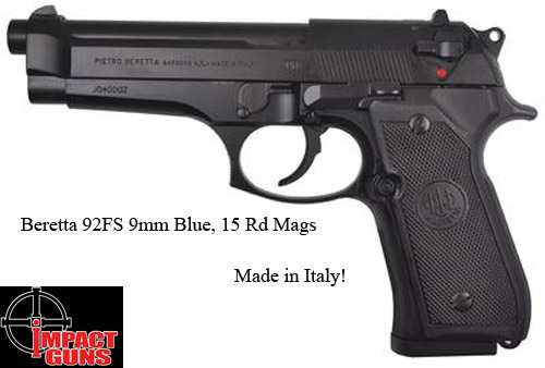 Beretta 92FS 9mm Blue, 15 Rd Mags, Made in Italy!=