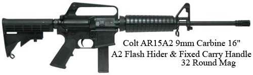 Colt-AR15A2-9mm-Carbine-16-A2-Flash-Hider-Fixed-Carry-Handle-32-Round-Mag=